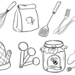 food preparation utensils coloring page