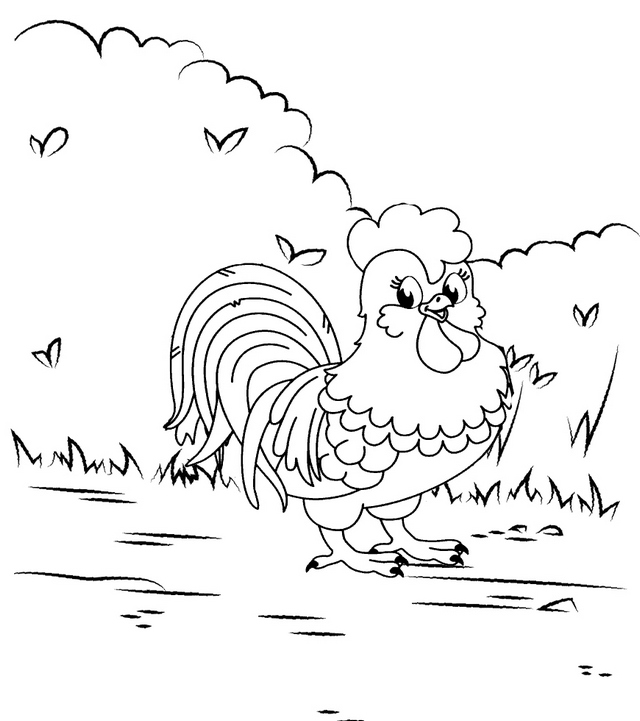 funny rooster cartoon coloring page for child