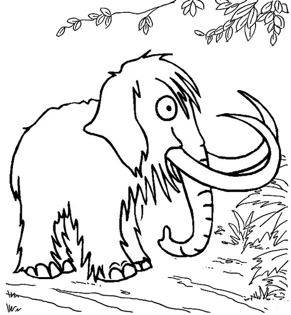 mammoth in forest coloring page