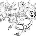 various insects cartoon coloring page scorpion butterfly bee and dragonfly