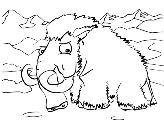 wooly mammoth ice mountain coloring page