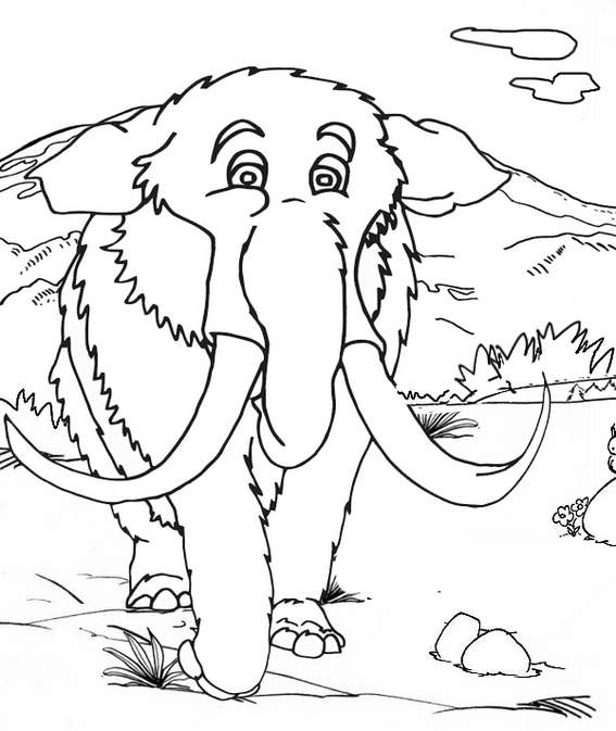 wooly mammoth with mountain scenery coloring page
