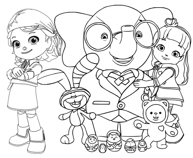 All Characters of Rainbow Ruby Coloring Page