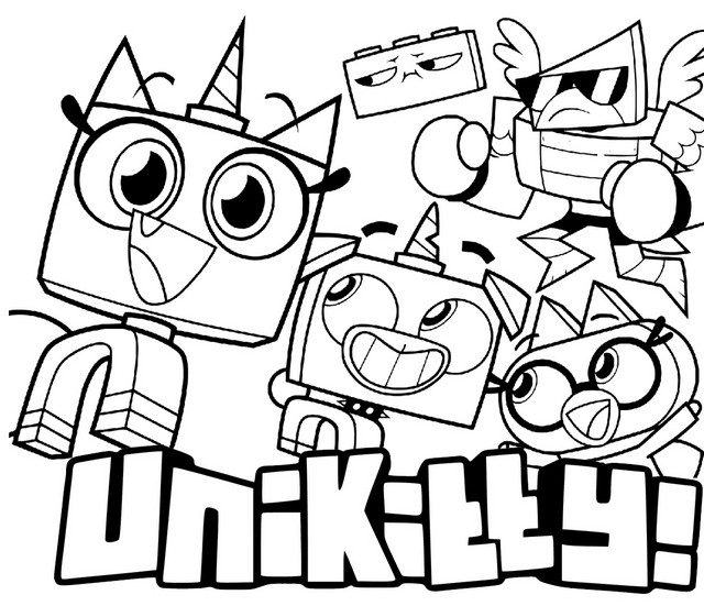 All New Unikitty characters coloring page