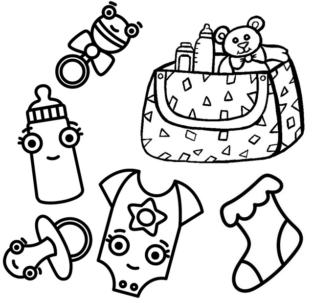 Baby Bag Clothes Toys Coloring Page