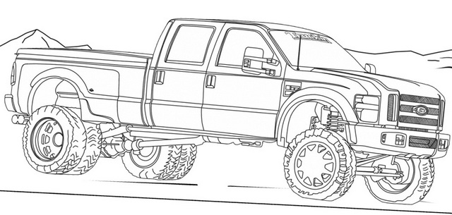 Camo Chevy Truck Coloring Page