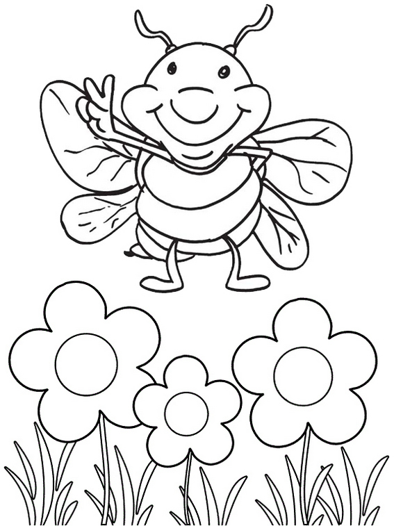 Cicada Cartoon Smiling Coloring Page