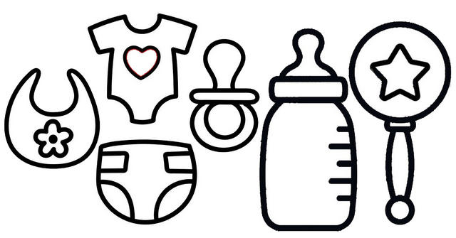 Cute Baby Accessories Coloring Page