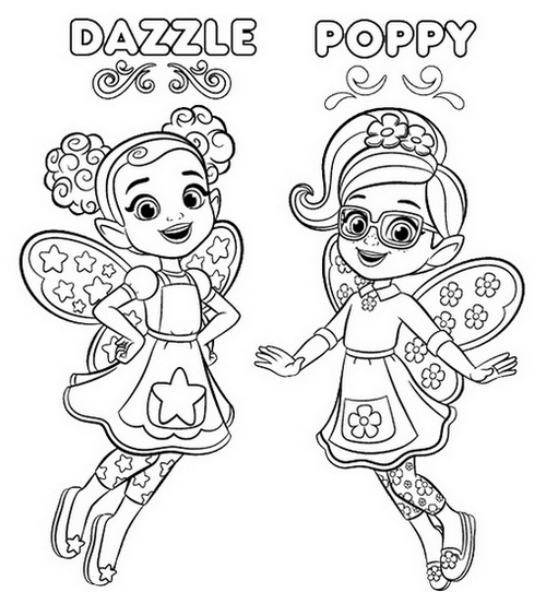 Dazzle and Poppy from Butterbeans Cafe Coloring Page