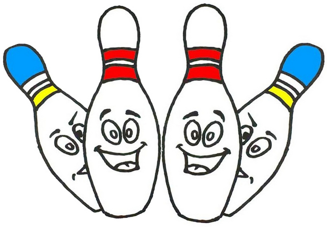 Fun Bowling Cartoon Smiling Coloring Page