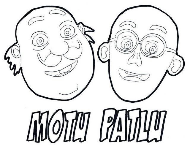 Motu Patlu Mask Coloring Page
