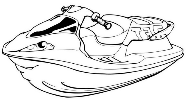 New Jet ski coloring page