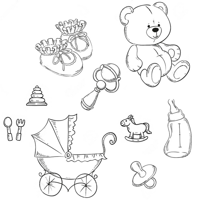 Newborn Essentials Checklist Coloring Page