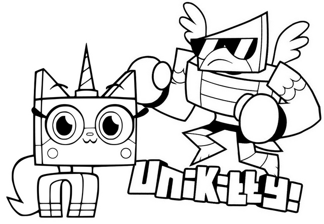 Princess Unikitty and Hawkodile Coloring Page