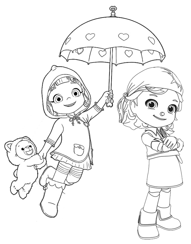 Ruby with Choco and Gina from Rainbow Ruby Coloring Page