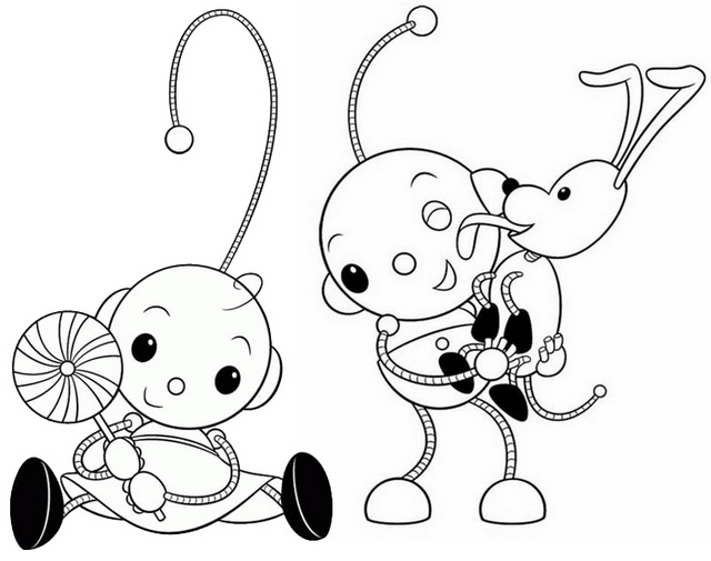 Zowie Super Duper Dog and Olie Coloring Page of Rolie Polie Olie