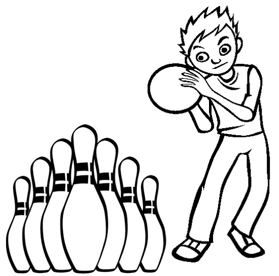 a boy playing bowling coloring page