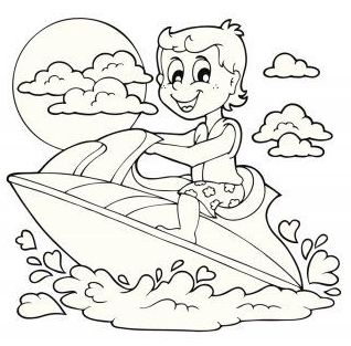 a boy riding jet ski cartoon coloring page