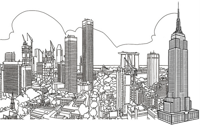 cool skyscraper building coloring page