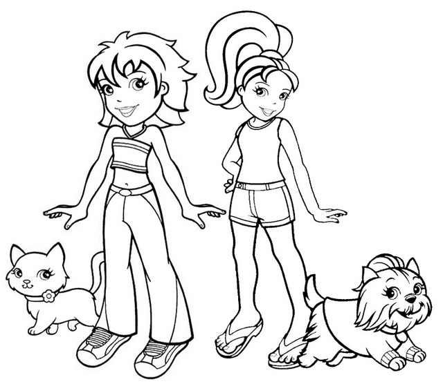 crissy with cat and polly with dog from polly pocket coloring page
