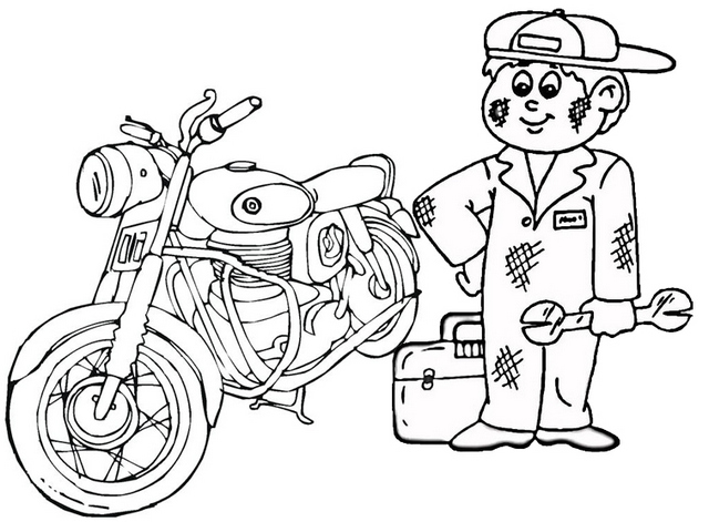 fun motorcycle mechanic coloring page for child