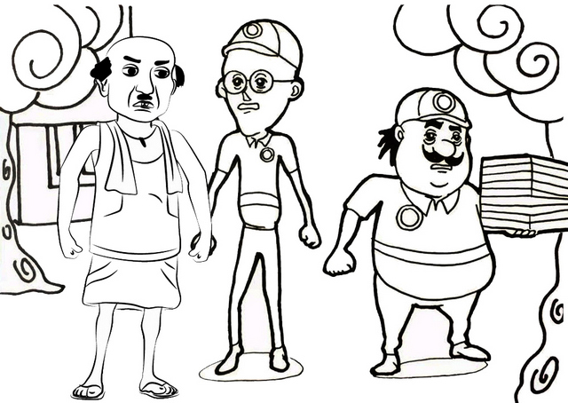 fun motu patlu coloring page of animated series