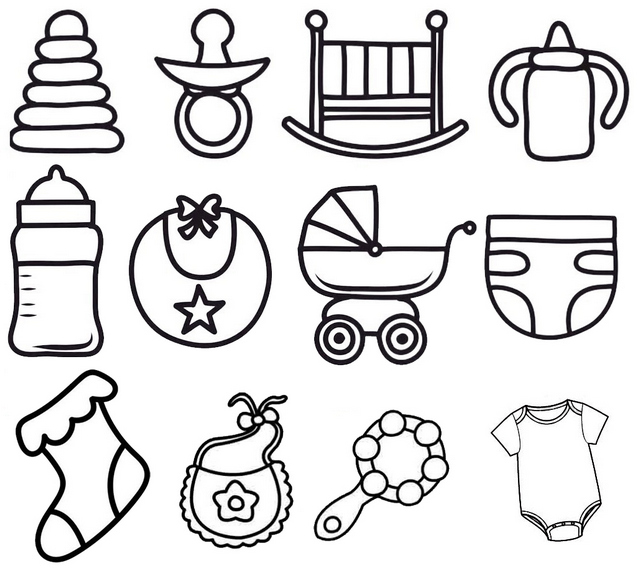 list of baby accessories coloring page