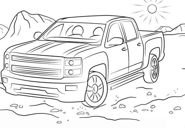 off road chevy truck coloring page