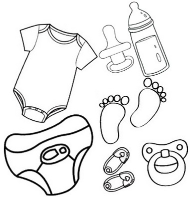 pacifiers bottles cloth diapers toys coloring page