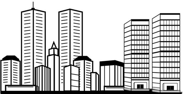 skyscraper architecture coloring page