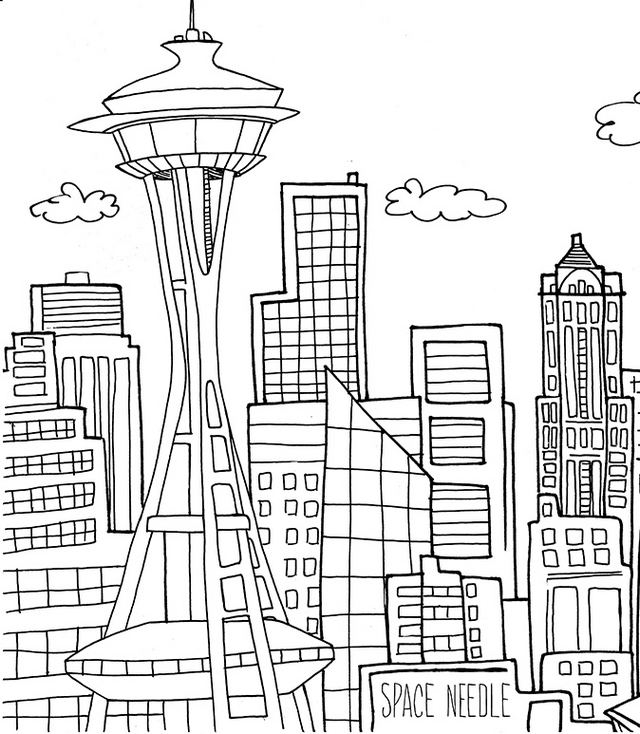 skyscraper city coloring page