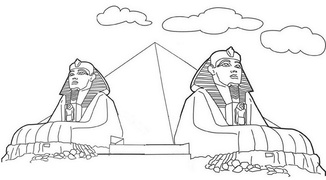 sphinx pyramid coloring page
