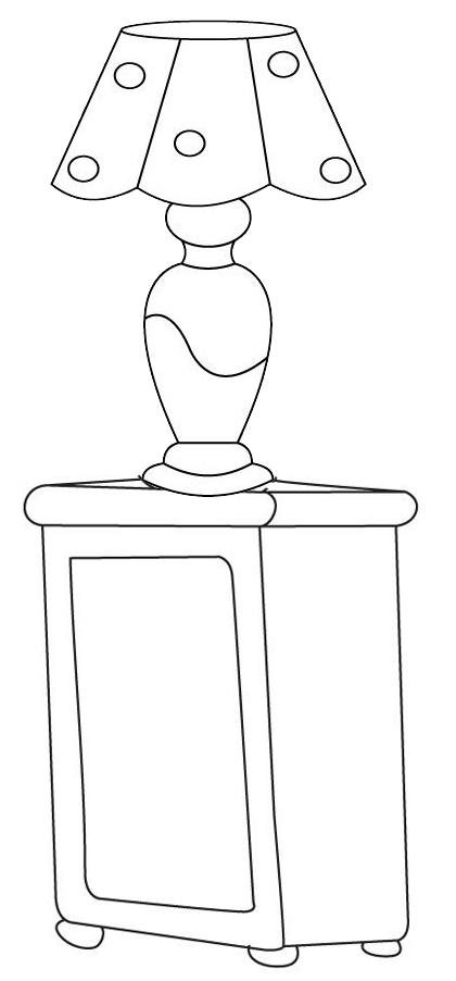 bedroom lamp above drawer coloring page