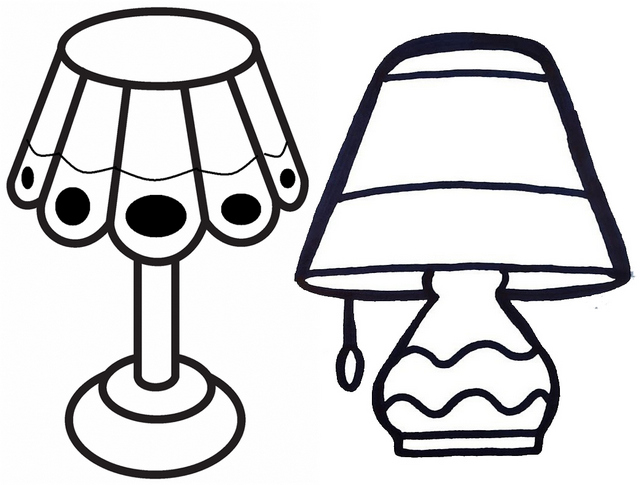 Bedroom and Living room light lamp wood coloring page