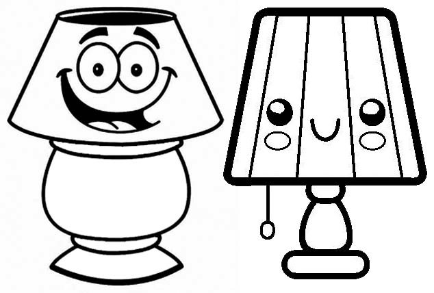 Cute Lamp Cartoon Coloring Page