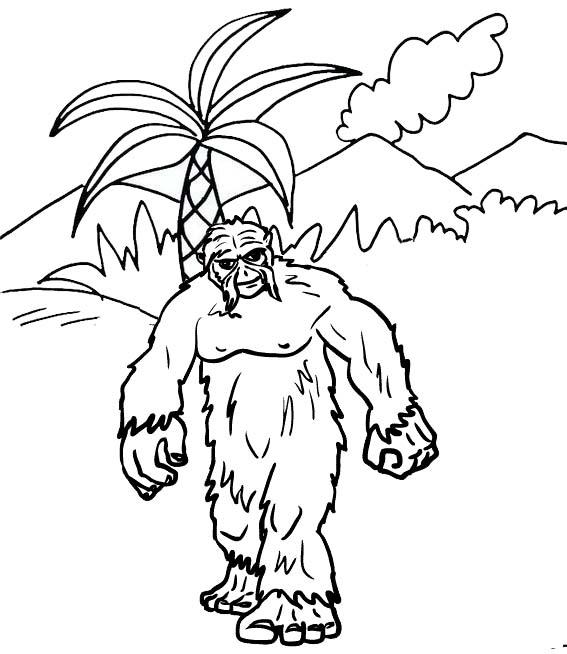 Fantasy Yeti Animal Kingdom Coloring Page