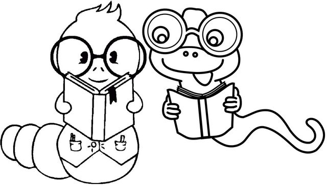 Funny Worms Reading Books Cartoon Coloring Page