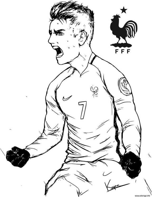Griezmann Soccer Player Coloring Page