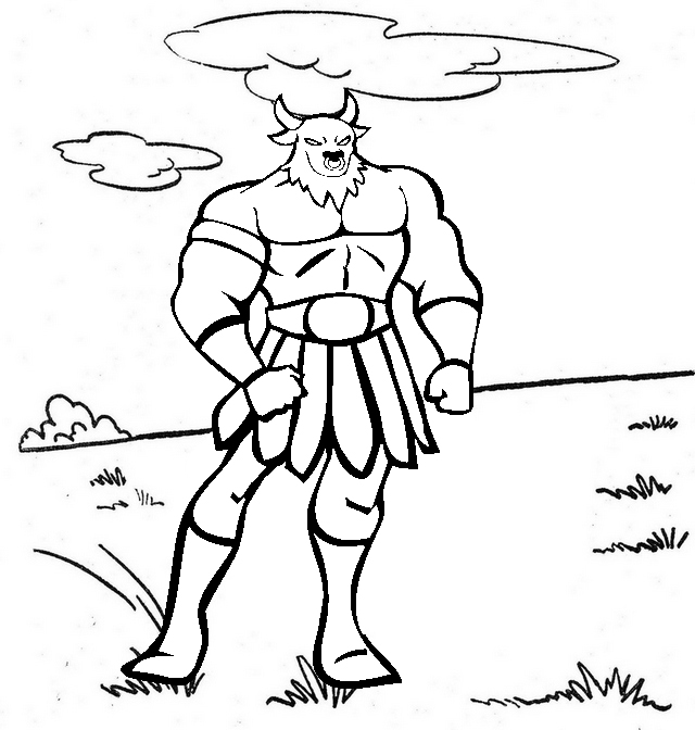 Minotaur Cartoon Coloring Page
