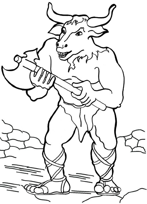 Minotaur Greek Mythology Coloring Page