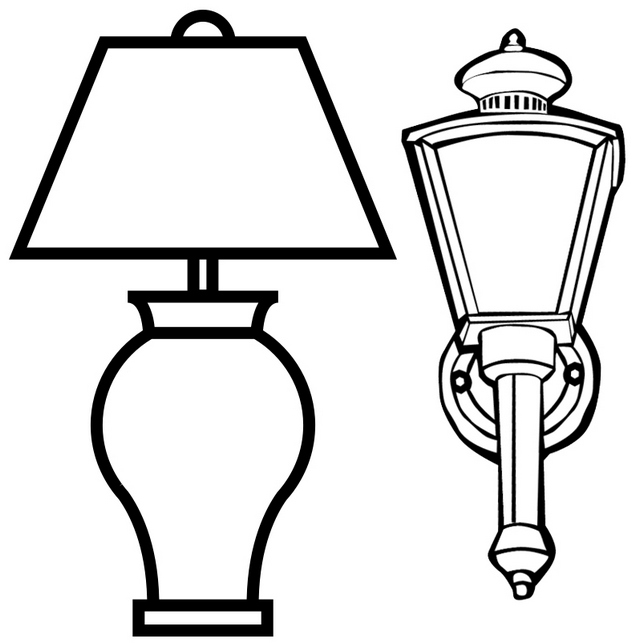 Outdoor Lamp and Table Lamp Coloring Page