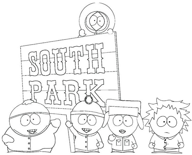 South Park Characters and Logo Coloring Page