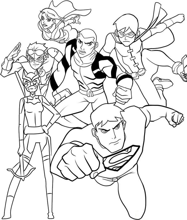 Superboy Team Artemis Robin Kid Flash Superboy Miss Martian and Aqualad Coloring Page