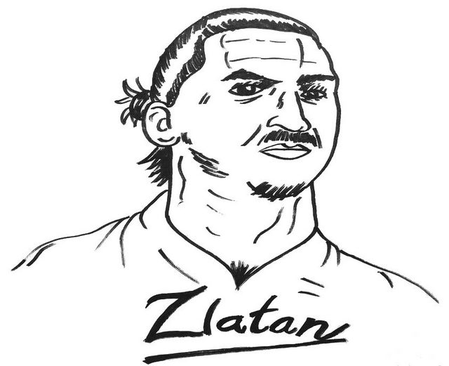 Zlatan Ibrahimovic Top Player Soccer Coloring Page