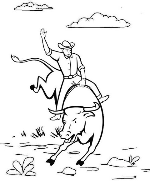 a man riding bull coloring page