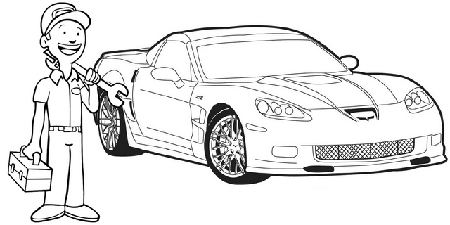 best auto mechanic coloring page