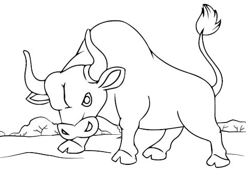 best bull trying to jump coloring page