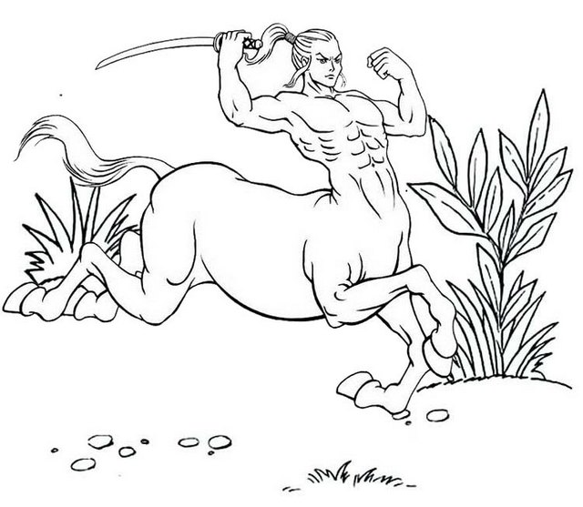 best male centaur coloring pages