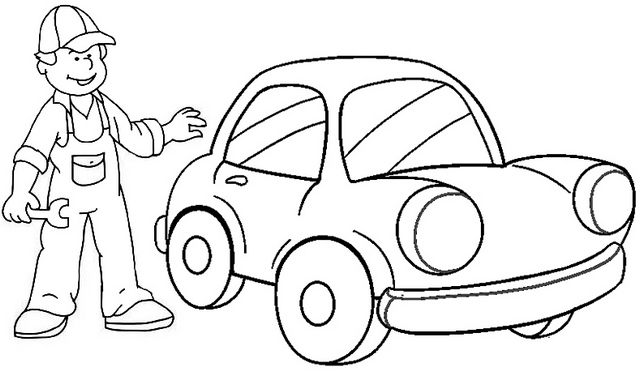 best service mechanic coloring page for boy