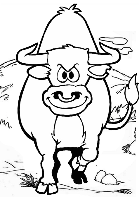 bull cartoon angry coloring page